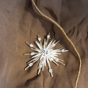 Vintage Avon Silvertone and Rhinestone Star Pin